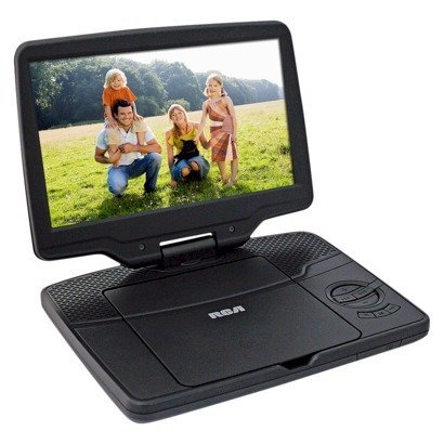 Price comparison product image RCA 9 Portable DVD Player Widescreen LCD Display with AC Charger and DC Car Cigarette Plug Power Adapter - Black (DRC98091S)