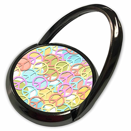 3dRose Lee Hiller Designs 60s Retro - Retro 60s Pastel Peace Signs on Pastel Dots - Phone Ring (phr_53213_1) - 60s Pastel