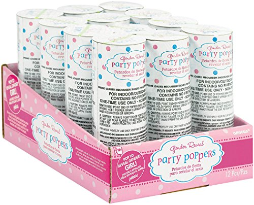 Amscan 12 Count Gender Revealing Baby Girl Confetti Party Poppers , (Girl Gender Reveal)