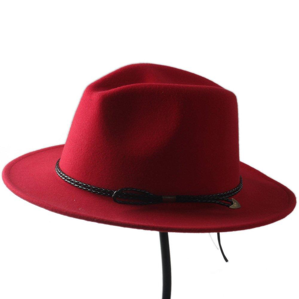 MILUCE New Wool Unisex Men's Chapeu Feminino Fedora Hat Gentleman Woolen Wide Brim Cap Panama Fedora Top Sun Hat For Women ( Color : 10 , Size : 57-58CM ) MILUCE Cowboy Hats