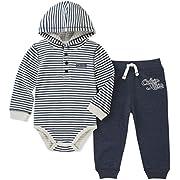 Calvin Klein Baby Boys' 2 Pieces Bodysuit Pant Set, Vanilla/Navy, 3-6 Months
