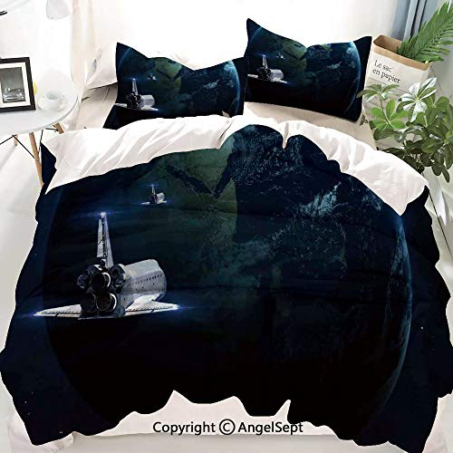 Homenon Galaxy Decor Duvet Cover Set Full Size,Spaceship Return to Earth Science Fiction World Backdrop Space Craft Travel,Decorative 3 Piece Bedding Set with 1 Pillow Shams