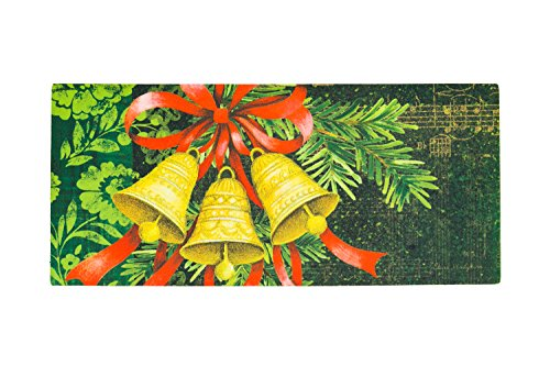 Seasonal, Easy-to-Clean, Evergreen Merry Christmas Holiday Bells Holiday Sassafras Mats ()