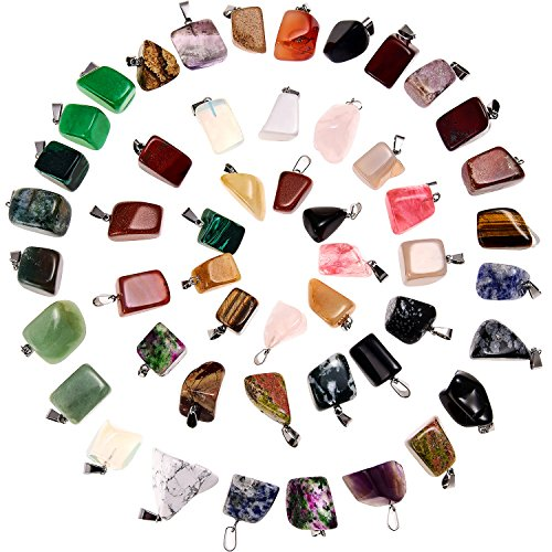 50 Pieces Mixed Irregular Healing Stone Beads Bullet Shape Crystal Stone Pendants Quartz Charms with Storage Bag for Jewelry Making (Style -