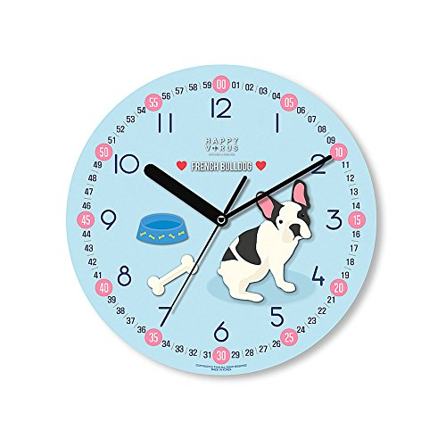 HappyVirus 11.22'' Educational Wall Clock, Children's Time Telling Teacher, Silent Non Ticking Home Decoration (French Bulldog) #2128 by HappyVirus