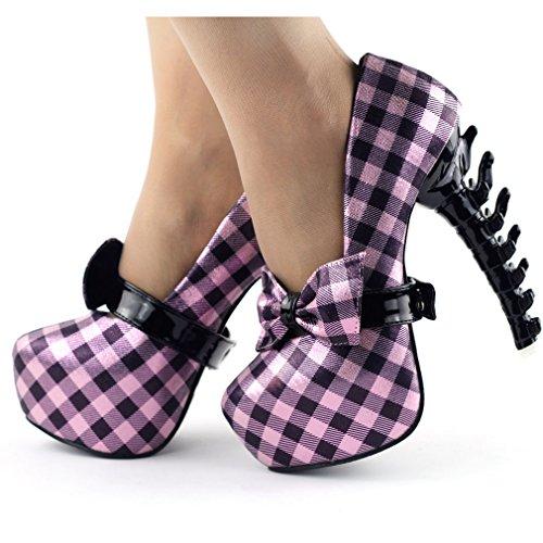 Show Story Sexy Check Bow Ankle Strap Hidden Platform Bone Heel EVE Pump,LF80619 Baby Pink