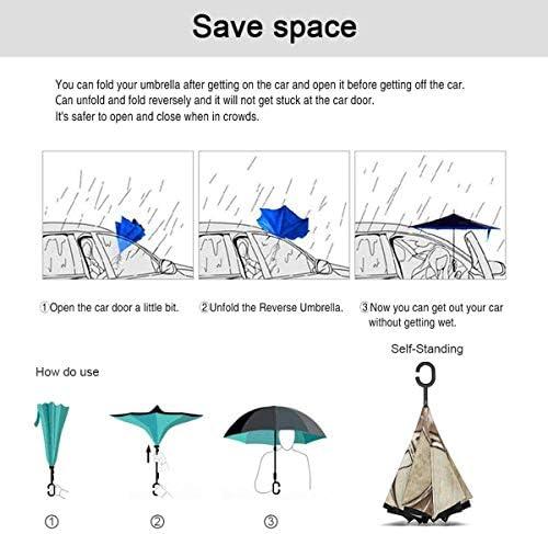 ビンテージマーメイドタトゥーアート ユニセックス二重層防水ストレート傘車逆折りたたみ傘C形ハンドル付き
