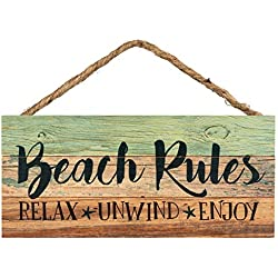 P. Graham Dunn Beach Rules Relax Unwind Enjoy Weathered 5 x 10 Wood Plank Design Hanging Sign