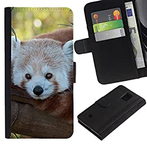 All Phone Most Case / Oferta Especial Cáscara Funda de cuero Monedero Cubierta de proteccion Caso / Wallet Case for Samsung Galaxy S5 Mini, SM-G800 // Little Red Panda Bear Face Tree Tail Animal