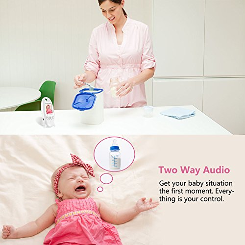 Video Baby Monitor - Night Vision Camera and Two Way Audio System for Baby Safety & Security - Wall Hooks Included