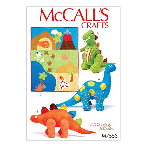 Plush Toy Pattern - McCall's Patterns M7553OSZ Dinosaur Plush Toys and Appliqued Quilt