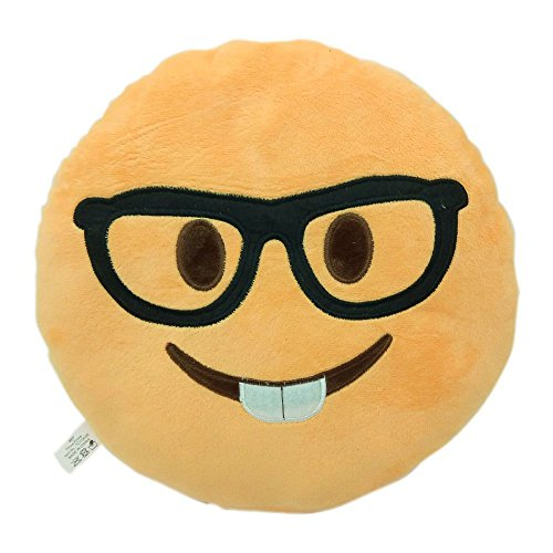 NERD FACE Emoji Pillow Smiley Emoticon Yellow Round Cushion Stuffed Plush Soft Toy(Poop,Pinkpoop,Monkey,Money Mouth,Cat,Heart Eye,Laugh to Tear,Smirking,Throwing Kiss,Tongue,Devil,Nerd)