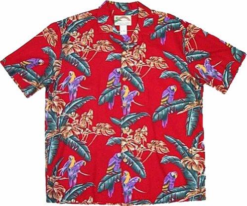 Paradise Found Jungle Bird Rayon Hawaiian Shirt, Red, Medium