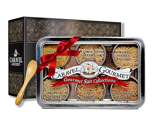 (The Spicy Hot Gourmet Sea Salt Sampler - Perfect as a Gift Set - Reusable Tins & Bamboo Spoon - Ghost Pepper, Habanero, Jalapeno, Garlic Pepper, Cajun, Curry Salts - 1/2 oz. each, 3 total oz.)