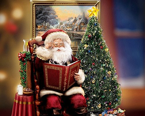Santa Claus Christmas Tree Painting Prints on Canvas Wall Art Picture for Living Room Kictch Home Decorations (Santa Christmas Art)