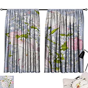 Josepsh Flowers Pattern Darkening Curtains Romantic Bridal Bouquet with Peonies Leaves and Gypsophila Valentines Day Wedding Room/Bedroom, Multicolor W72 x L72 1