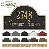 Personalized Cast Metal Address plaque with arch top (Large option). Display your address and street name. Custom house number sign.