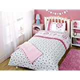 Kids Childrens Single Bed Size Duvet Cover Pippa Floral Pink White Aqua