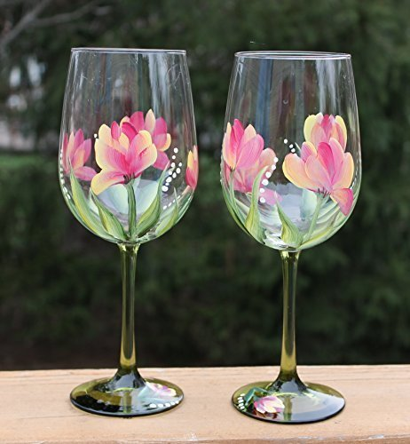 Hand Painted Wine Glasses (Set of 2) - Variegated Tulips on Green Stems (Tulip Colors And Their Meanings)