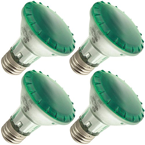 Industrial Performance 50PAR20/H/SP10-TG 130V, 50 Watt, PAR20, Medium Screw (E26) Base Green Light Bulb (4 Bulbs) ()