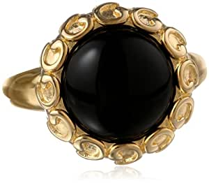 18k Yellow Gold-Plated Sterling Silver Black Onyx Ring, Size 7