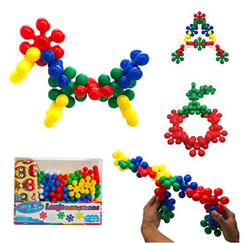 Kid's Large Building Blocks (45-Piece Set) for Girls and Boys, Interlocking Construction Kit | Safe, Non-Toxic Plastic | Bright Colors, Waterproof | Cotton (Kids Log)