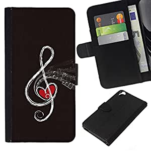 """JackGot ( Nota de la música abstracta"""" ) HTC Desire 820 la tarjeta de Crédito Slots PU Funda de cuero Monedero caso cubierta de piel"""