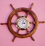 24'' Solid Teak Wood Crafted Premium Nautical Porthole Clock Ship Wheel | Finest Home Decor Gift | Nagina International