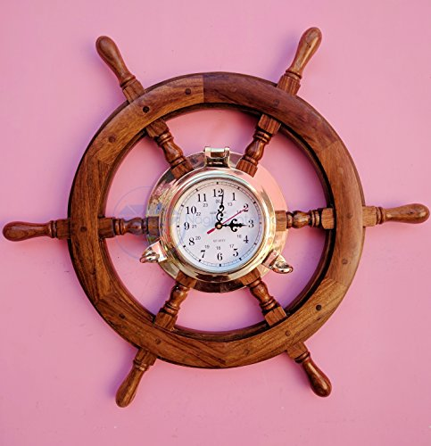 24'' Solid Teak Wood Crafted Premium Nautical Porthole Clock Ship Wheel | Finest Home Decor Gift | Nagina International by Nagina International