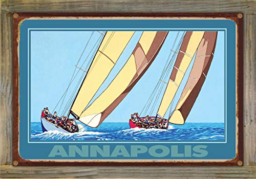 Northwest Art Mall Annapolis Two Sailboats Rustic Metal Print on Reclaimed Barn Wood by David Linton (12