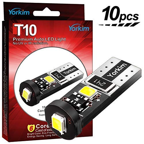 Yorkim 194 Led Bulb Canbus Error Free 3-SMD 2835 Chipsets, T10 Interior Led For Car Dome Map Door Courtesy License Plate Trunk lights with 194 168 W5W 2825 Sockets Pack of 10, White (Sirius Led T10)