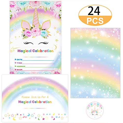 (Supreona 24 PCS Glitter Unicorn Invitations With Envelopes And Stickers Rainbow Invitation Cards For Birthday, Baby Shower, Party Supplies Set)