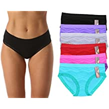 Just Intimates Seamless Bikini Panties With Jacquard Fabric & Lace Detail (6 Pack)
