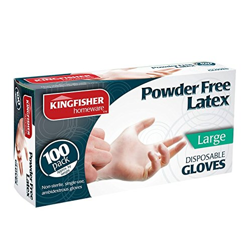 Kingfisher Disposable Powder Free Latex Gloves, Large - 100 Pack
