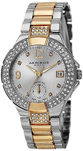 Watch Time Dual Bracelet - Akribos XXIV Women's Swiss Quartz Diamond Markers Dual Time Bracelet Watch