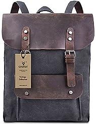 Handolederco Vintage Men Casual Canvas Leather Backpack Rucksack Bookbag Satchel Hiking Bag