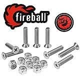 "Fireball Dragon Stainless Steel Skateboard Hardware Set (Flat Phillips, 1.0"")"