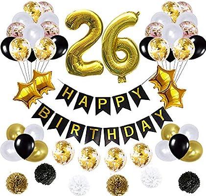 Amazon.com: 26 globos de decoración de cumpleaños, póster de ...
