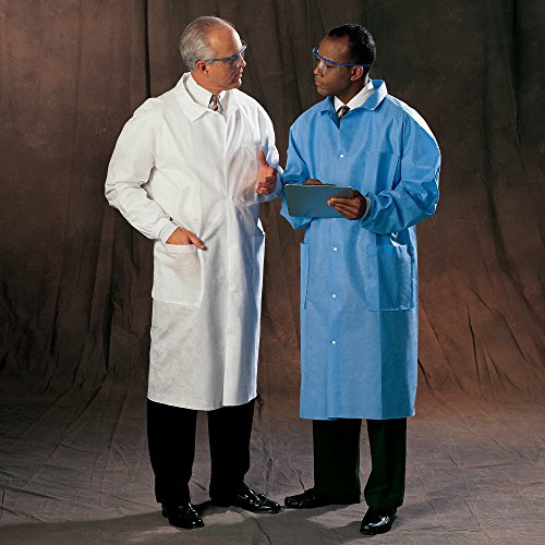 Kimberly Clark Universal Precautions Lab Coats (10045), Protective 3-Layer SMS Fabric, Back Vent, Unisex, Blue, Small, 25 / Case by Kimberly-Clark (Image #2)