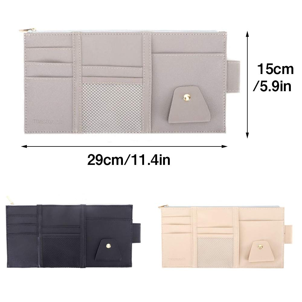 Sun Visor Organizer,Car Visor Storage,Card Storage Glasses Holder Sunshade Sleeve Wallet Clips Black Essential Gift for Any Driver
