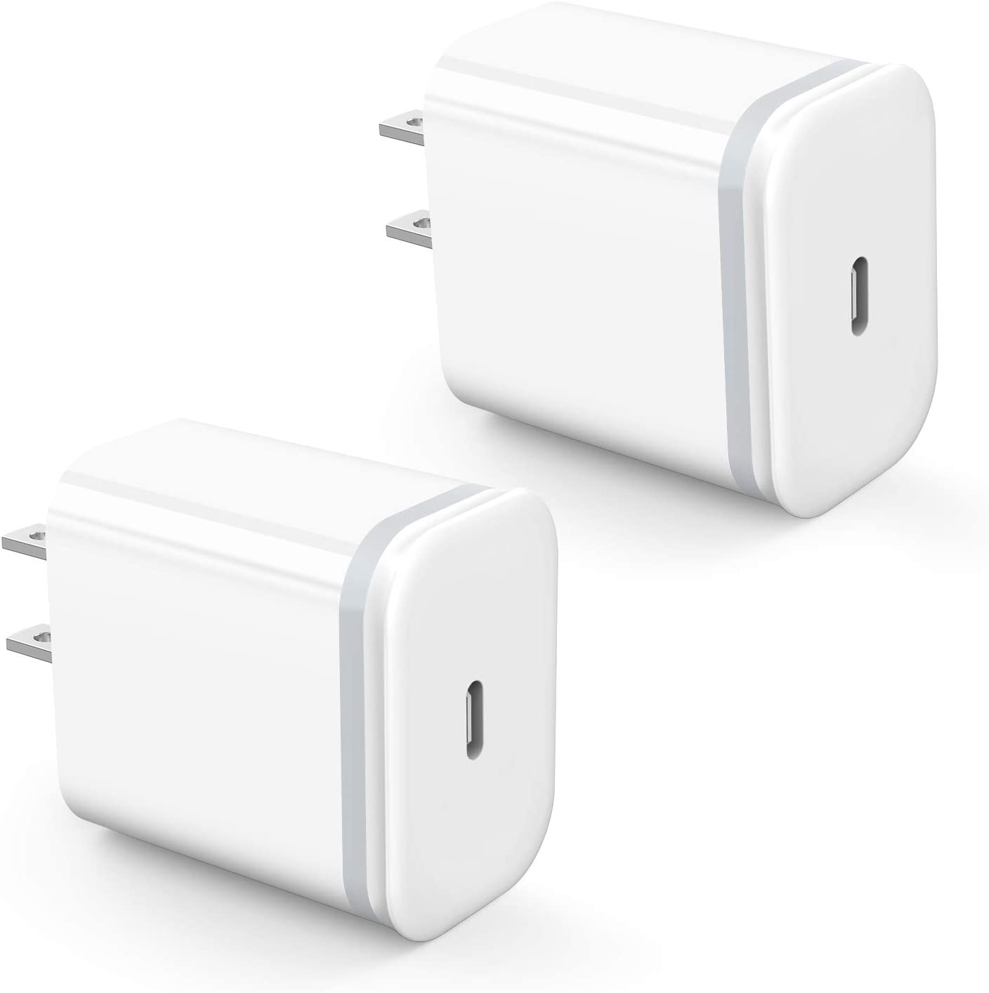 USB C Charger Adapter 2-Pack, Niluoya 18W 3.0 Type C Fast Charging Plug Cube Power Delivery Block Replacement for iPhone 11 Pro Max Xs XR X, AirPods Pro, iPad, Google Pixel 3 2 XL, Samsung, LG, Huawei