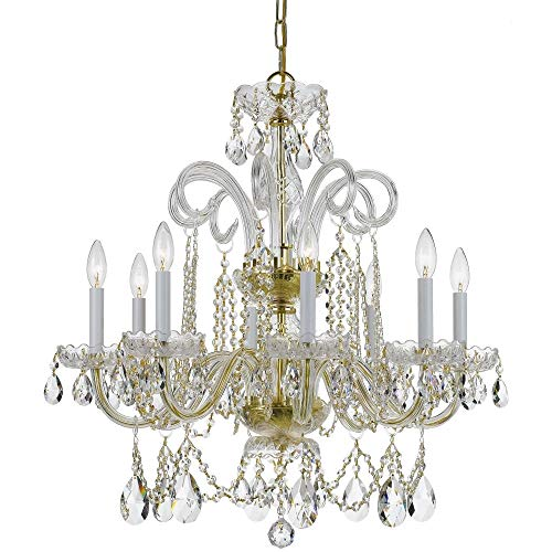Crystorama 5008-PB-CL-S Crystal Eight Light Chandelier from Traditional Crystal collection in Brass-Polished/Castfinish,