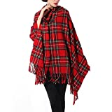 womens cloak red hooded - Zicac Womens Vintage Hooded Cloak Cape Bohemian Fringed Plaid Shawl Wrap Scarf (Red)