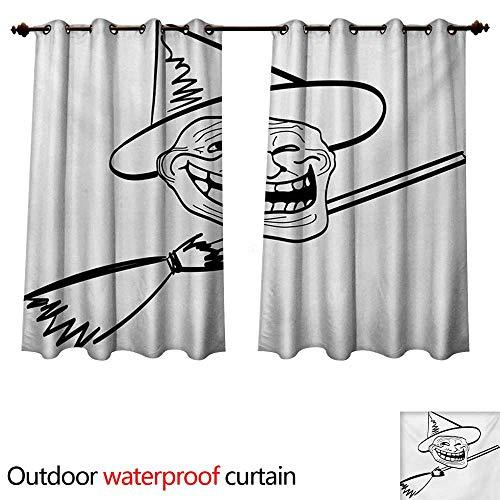 Humor 0utdoor Curtains for Patio Waterproof Halloween Spirit Themed Witch Guy Meme LOL Joy Spooky Avatar Artful Image Print W96 x L72(245cm x 183cm) -