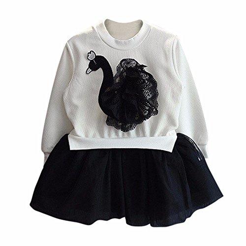 [Princess Dress, Mosunx(TM) Baby Girls Long Sleeve Lace Yarn Black Swan Princess Dress (11(110CM),] (Swan Princess Costume)