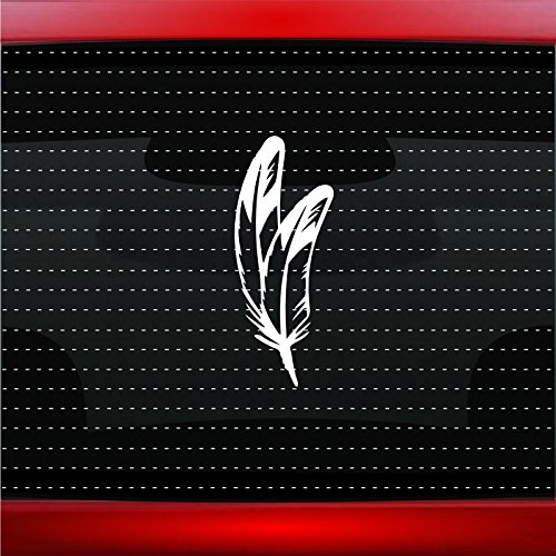 Noizy Graphics Feather #5 Indian Native American Car Sticker Truck Window Vinyl Decal Color: Yellow
