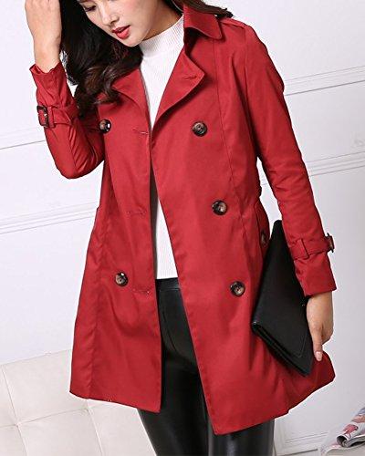 Donna Trench Basic Elegante Lunghe Petto Rosso Doppio Con Y Cintura Scuro Classico Giacca Maniche Cappotto Coat SRqAS