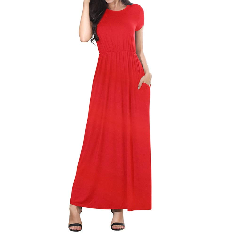 55913e0993b7 Women Summer Dresses Bohemian Casual Slim Fit Solid Color Beach Maxi Long  Dress with Pockets at Amazon Women's Clothing store: