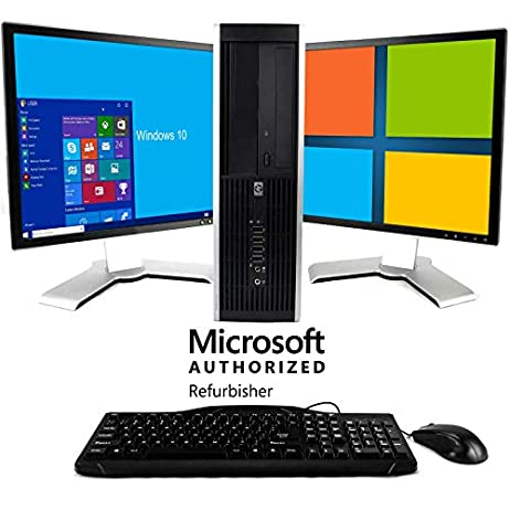 HP Elite Desktop Computer, Intel Core 2 Duo 2.9 GHz, 8 GB RAM, 1 TB SATA HDD, Keyboard & Mouse, WiFi, Dual 19in LCD Monitors (Brands Vary), DVD, Windows 10 (Renewed) 1