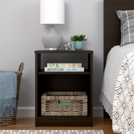 Mainstays Nightstand Features Open Top Shelf and Bottom Cubby, (1, Espresso) ()